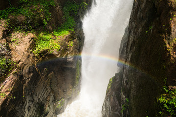Rainbow over waterfall at the Iguazu National Park in Puerto Iguazu, Argentina
