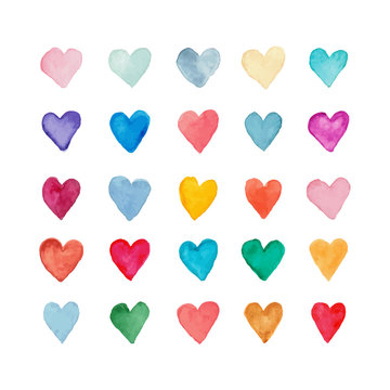 collection of colored hearts isolated on white, best for romantic cards, invitations, prints on holidays