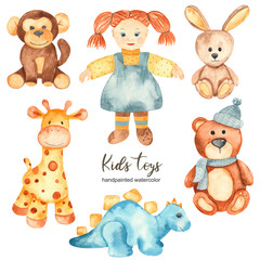 Watercolor set with children's stuffed toys and doll