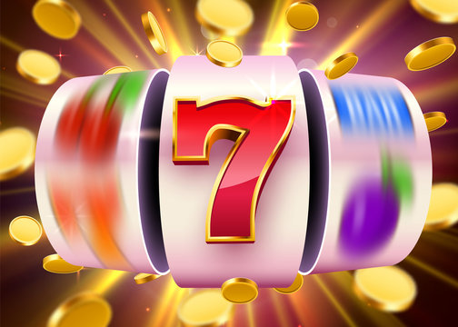 Golden slot machine with flying golden coins wins the jackpot. Big win concept.