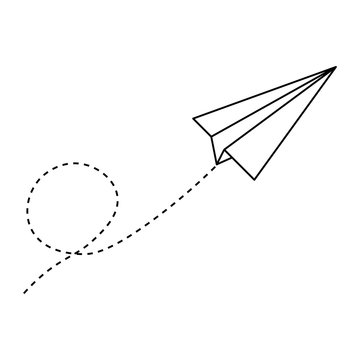 Vector illustration of white paper airplane