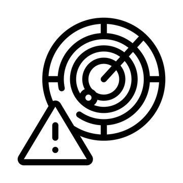Caution Radar Icon Vector. Outline Caution Radar Sign. Isolated Contour Symbol Illustration