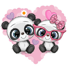 Cartoon Pandas on a heart background