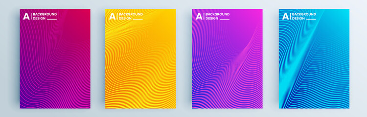 Foto auf Gartenposter Abstrakte Welle Modern abstract covers set, minimal covers design. Colorful geometric background, vector illustration.