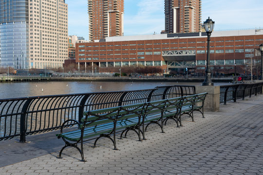 Empty Bench at Battery Park in New York City along the Hudson River
