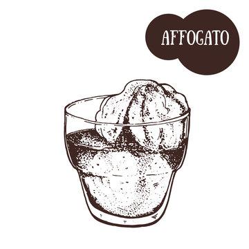 Affogato coffee cup sketch. Hand drawn illustration. Engraved vector illustration. Affogato cup.