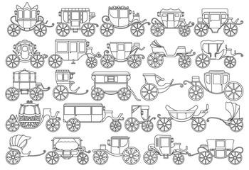 Vintage carriage vector Outline, line set icon. Vector illustration set cart for princess. Isolated Outline, line icon transport of vintage carriage on white background .