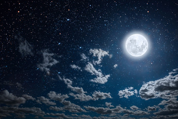 Wall Mural - backgrounds night sky with stars and moon and clouds. Elements of this image furnished by NASA