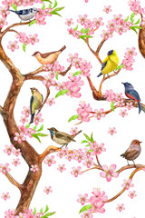 lovely seamless texture with colorful little birds sitting on flowering branches of tree. watercolor painting