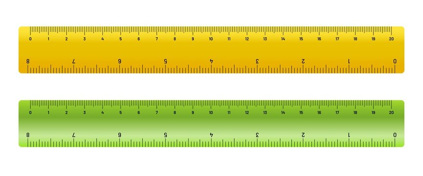 Realistic metric rulers. Yellow and green measure tape ruler school measurement.