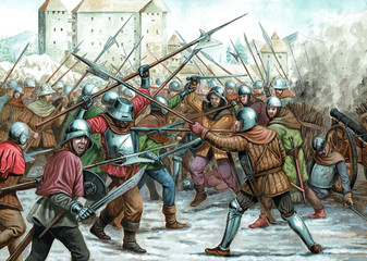 Landsknechts in the battle. Medieval knights illustration. Medieval battle.