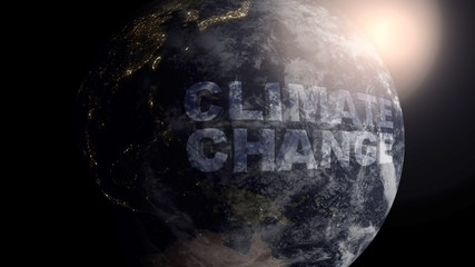 Climate Change written in 3D on a spinning realistic Earth