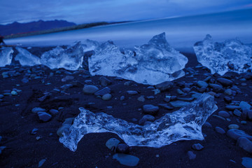 Diamond like Ice formation on the beach after night falls -- Iceland