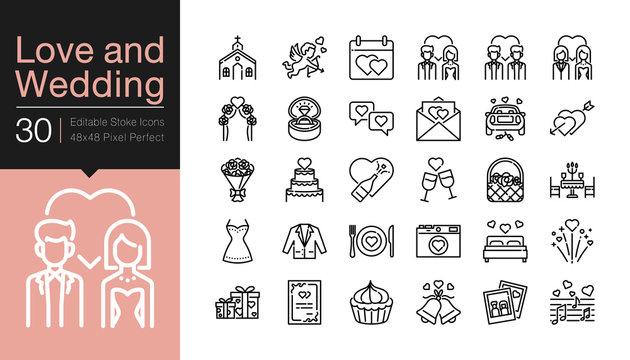 Love and Wedding icons. Modern line design. For presentation, graphic design, mobile application, web design, infographics, UI. Editable Stroke.