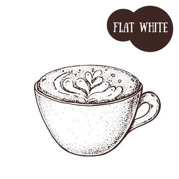Flat white coffee cup sketch. Hand drawn illustration. Engraved vector illustration. Flat white coffee mug.