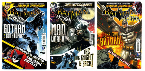 london, england, 05/05/2018 Retro action fantasy comics batman the dark knight gotham city arkham unhinged. Super hero comics bat man. Bruce wayne and wayne industries.