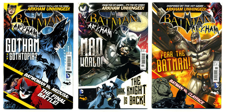 london, england, 05/05/2018 Retro action fantasy comics batman the dark knight gotham city arkham unhinged. Super hero comics bat man. Bruce wayne and wayne industries.