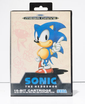 london, england, 05/05/2019 sonic the hedgehog sega mega drive video game cartridge isolated on a white studio background. Retro and vintage console game playing from the 1990s.