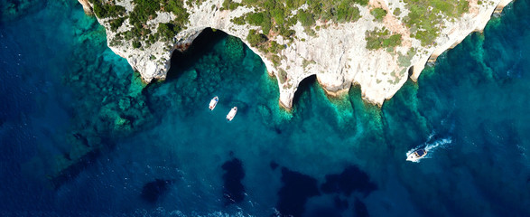 Aerial drone ultra wide photo of famous blue caves in North part of Zaktynthos island, Ionian, Greece Fototapete