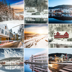 Collage of sights and scenes of Bergen, Norway