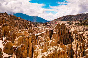 Sunshine view of rocky Moon Valley scenery near La Paz in Bolivia