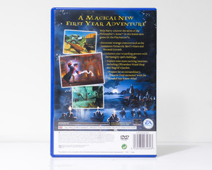 london, england, 05/05/2018 harry potter ps2 original video gameand the philosophers stone wizard and magic fantasy action movie starring daniel radcliffe. retro arcade vintage collectors games.