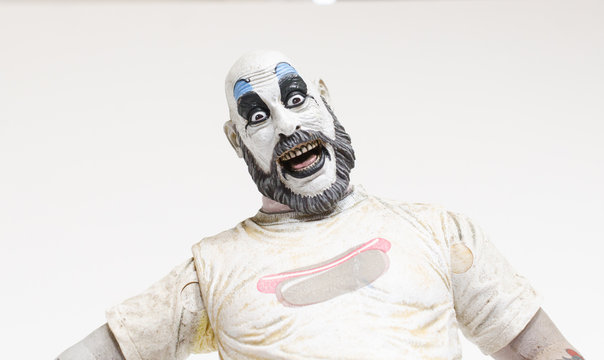 london, england, 05/05/2018 captain spaulding serial killer clown action figure  from the film house of 1000 corpses and devils rejects.  1990s.  created by rob zombie film director and writer.