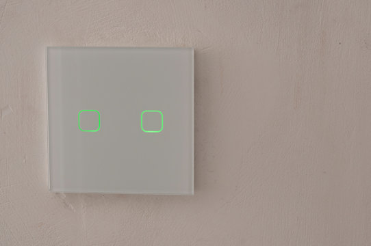 Smart wall touch light switch close-up