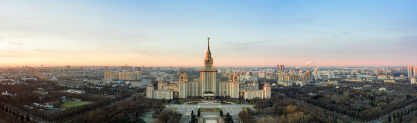 Printed kitchen splashbacks Moscow Aerial view of Lomonosov Moscow State University on Sparrow Hills, Moscow, Russia. Scenic panorama of Moscow with the Main building of MSU from above
