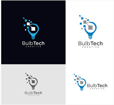 Smart bulb tech logo icon . Idea creative light bulb logo . Bulb digital logo technology Idea .Bulb Logo Design Colorfull .