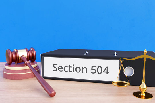 Section 504 – Folder with labeling, gavel and libra – law, judgement, lawyer
