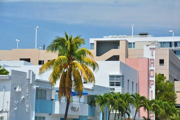 Art Deco style buildings architecture in Miami Beach.