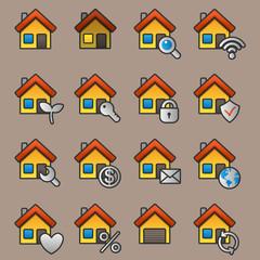 Flat yellow house icon set. Vector illustration.