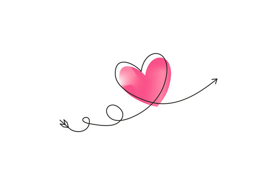 Cupid s arrow in the continuous drawing of lines in the form of a heart with pastel neon color design. Continuous black line. Work flat design. Symbol of love and tenderness.
