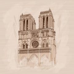 Notre Dame de Paris Gothic Catholic Cathedral in Paris France. Pencil sketch on a beige background.