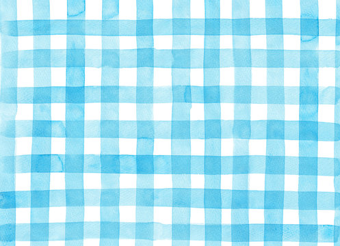 Light blue check pattern painted by watercolor