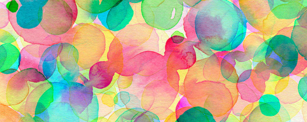 Abstract bubble circle watercolor brush strokes painted background. Texture paper.
