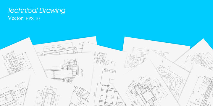 Engineering plan scheme . Technical drawing on white sheets of paper .Backgrounds of engineering subjects.Parts for industrial construction.Vector illustration .