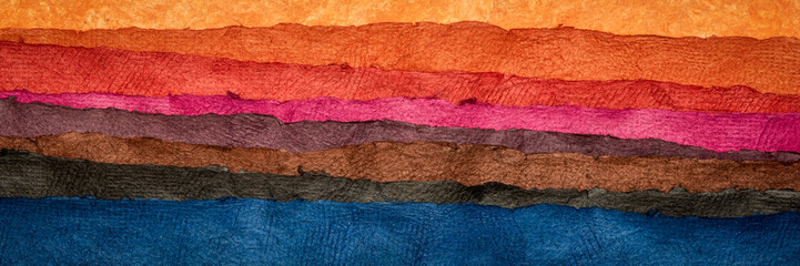 Türaufkleber Ziegel abstract landscape - colorful textured paper sheets