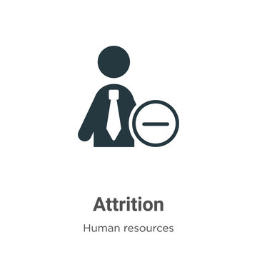 Attrition glyph icon vector on white background. Flat vector attrition icon symbol sign from modern human resources collection for mobile concept and web apps design.