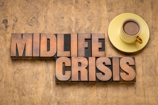 midlife crisis concept in wood type