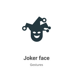 Joker face glyph icon vector on white background. Flat vector joker face icon symbol sign from modern gestures collection for mobile concept and web apps design.