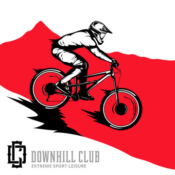 Vector downhill mountain biking illustration with rider on a bike and mountain silhouette. Downhill, enduro, cross-country biking illustration