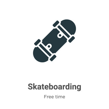 Skateboarding glyph icon vector on white background. Flat vector skateboarding icon symbol sign from modern free time collection for mobile concept and web apps design.