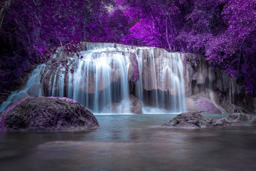 purple waterfall magic colorful, picture painted like a fairytale world