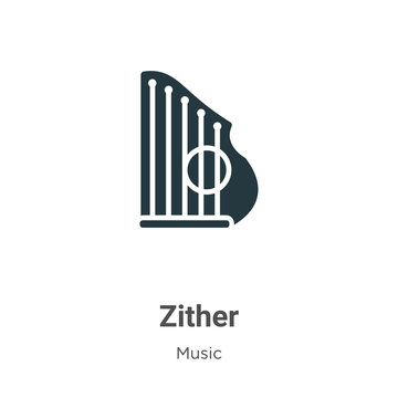 Zither glyph icon vector on white background. Flat vector zither icon symbol sign from modern music collection for mobile concept and web apps design.