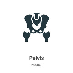 Pelvis glyph icon vector on white background. Flat vector pelvis icon symbol sign from modern medical collection for mobile concept and web apps design.