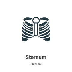 Sternum glyph icon vector on white background. Flat vector sternum icon symbol sign from modern medical collection for mobile concept and web apps design.