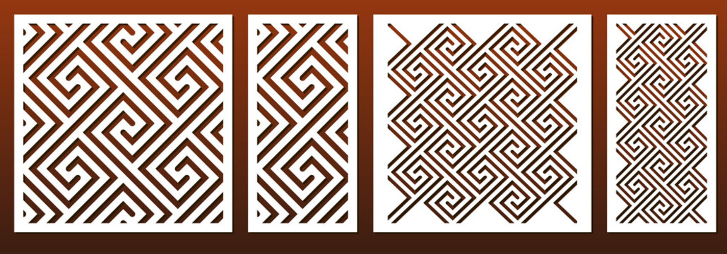 Laser cut template set, abstract geometric pattern in celtic traditional style. Panel decor, metal cutting, wood carving, paper art, fretwork stencil design. Vector illustration
