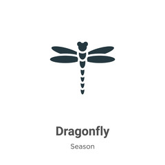Dragonfly glyph icon vector on white background. Flat vector dragonfly icon symbol sign from modern season collection for mobile concept and web apps design.